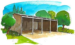 Three-sided barn/utility building plans