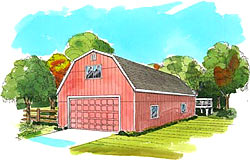 24' Gambrel/Dutch barn plans  with inside stairs