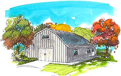 30' Gambrel barn plans with inside stairs