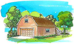 24' Gambrel/Dutch barn plans with outside stairs