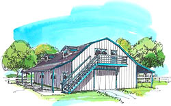 30' Gambrel barn plans with outside stairs