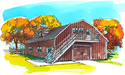 40' Gambrel barn plans with outside stairs