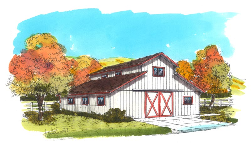 Ranchette barn pole barn small cattle barn plans by bgs for Mini barn plans