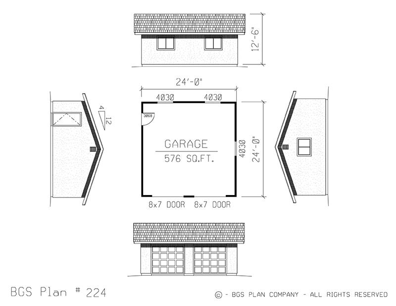Two Car Garage | BGS Plan 224