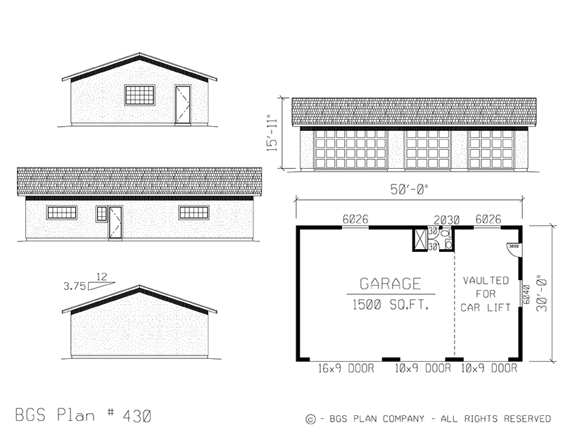 Four Car Garage | BGS Plan 430