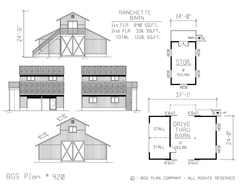Ranchette Barn | BGS Plan 920