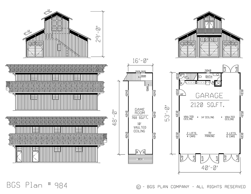 Ranchette Barn Plan #984